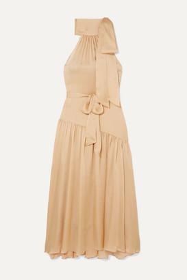Zimmermann Super Eight Tiered Silk Halterneck Maxi Dress - Beige