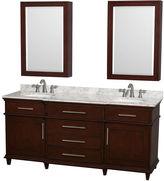 WYNDHAM COLLECTION Berkeley 72 inch Double Bathroom Vanity; White Carrera Marble Countertop; Undermount Round Sinks; 24inch Medicine Cabinets