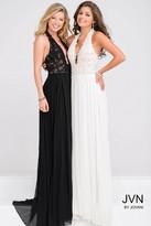 Jovani Halter Neck Open Back Lace Bodice Prom Dress JVN33922
