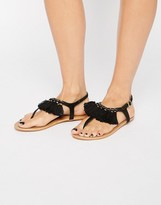 London Rebel Tassle Flat Sandals