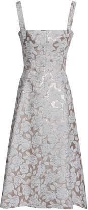 Lela Rose Flared Brocade Midi Dress