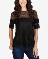 Lucky Brand Tiered Illusion-Lace Top