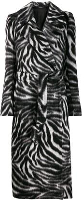 Tagliatore zebra-print belted coat