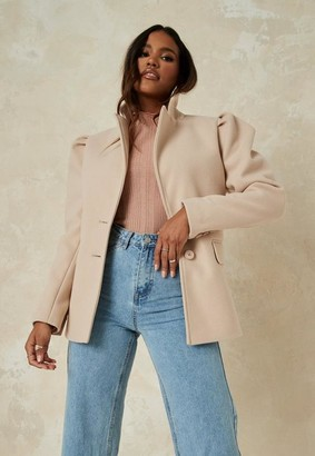 Missguided Camel Puff Sleeve Formal Coat