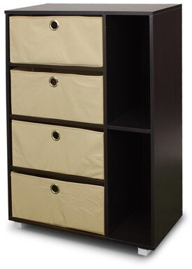 Hayley Multipurpose 4 Drawer Accent Chest Rebrilliant Color: Espresso/Brown Bins
