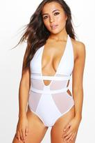 boohoo Petite Olivia Mesh Panel Strappy Back Swimsuit