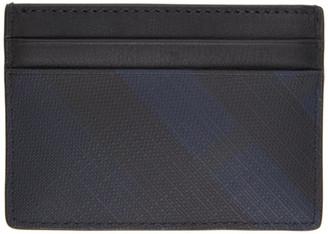 Burberry Navy London Check Sandon Card Holder
