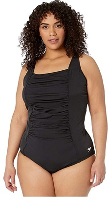 Speedo Plus Size Solid Shirred Tank One-Piece Black) Women's Swimsuits One Piece