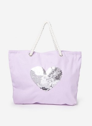 Dorothy Perkins Womens Southbeach Lilac Heart Sequin Tote Bag