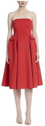Badgley Mischka Strapless Scuba Runway Dress with Belt (Bright Siam) Women's Dress