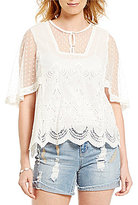 Democracy Angel Sleeve Schiffly Embroidered Top