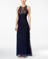 Betsy & Adam B & A By Lace-Accent Halter Gown
