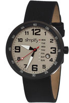 Simplify Mens The 800 Black Leather-Band Black Case Watch With Day&Date Sim0803