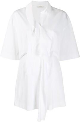 Nina Ricci longline ruffle trim shirt
