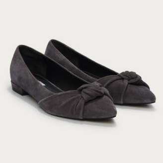 The White Company Suede-Knot Pointed Flat Shoes, Anthracite, 36