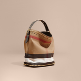 Burberry The Medium Ashby in Riveted Canvas Check and Leather
