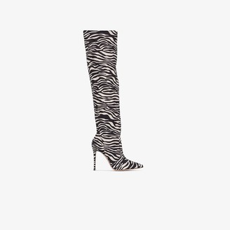 Gianvito Rossi Brown 100 Zebra Print Knee-High Boots