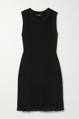 Theory Layered Ribbed-knit And Pleated Chiffon Mini Dress - Black