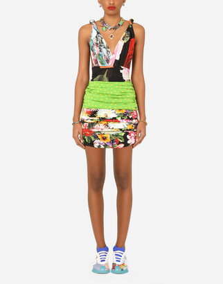 Dolce & Gabbana Short Patchwork Charmeuse And Georgette Dress