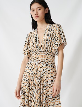 Maje Printed scarf dress with smocked waist