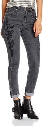 MinkPink Women's New FOLD Embroidered Jeans
