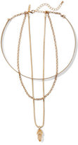 New York & Co. Triple-Row Faux-Crystal Pendant Necklace