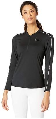 Nike Court Dry Top Long Sleeve 1/2 Zip (Black/White/White/Black) Women's Clothing