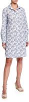 Finley Alex Desert Palm Button-Front Shirtdress w/ Convertible Sleeves