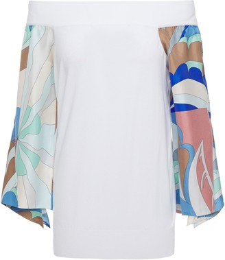 Emilio Pucci Off-the-shoulder Printed Satin Twill-paneled Knitted Top