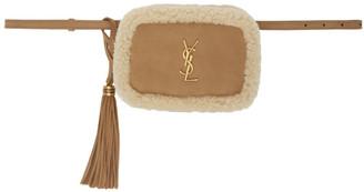 Saint Laurent Tan Shearling Lou Belt Bag