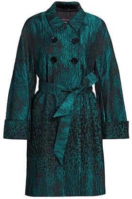 Talbot Runhof Chenille Degrade Jacquard Belted Coat