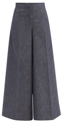 Carolina Herrera High-rise Cotton-blend Wide-leg Trousers - Denim