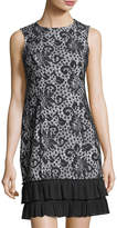 Donna Ricco Lace-Print Ruffle-Hem Sleeveless Dress