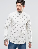 Farah Shirt With Repeat Circle Print In Slim Fit White