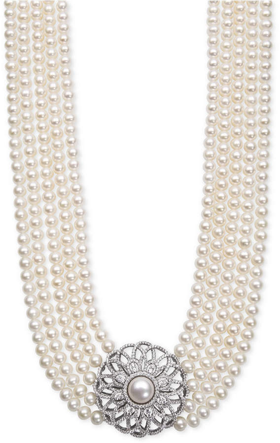 Belle de Mer Cultured Freshwater Pearl (5 and 9mm) and Cubic Zirconia Five-Strand Pendant Necklace