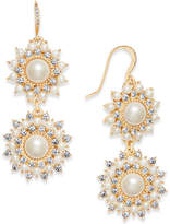Charter Club Gold-Tone Imitation Pearl and Crystal Double Drop Earrings, Created for Macy's