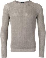 Zanone ribbed knit jumper - men - Linen/Flax - 46