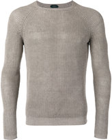 Zanone ribbed knit jumper - men - Linen/Flax - 48