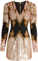Balmain V-neck sequin-embellished dress