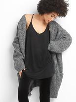 Long open-front shawl cardigan