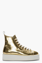 Comme des Garcons Metallic Gold Leather Flatform Sneakers