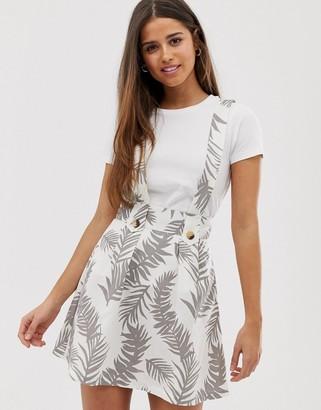 ASOS DESIGN palm print pinafore mini skirt