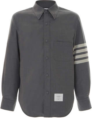 Thom Browne Four-Stripe Wool Button-Down Shirt Size: 2