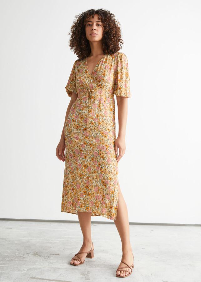 Printed Puff Sleeve Midi Dress