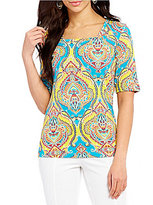 Investments Petites Square Neck Elbow Sleeve Printed Top