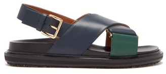Marni Bi-colour Leather Slingback Sandals - Navy