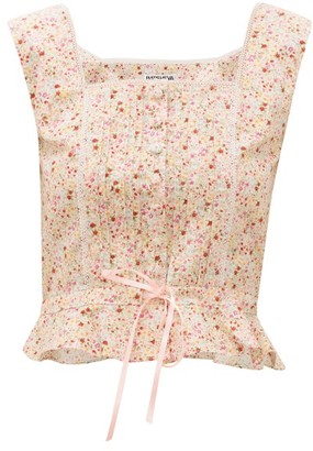 Batsheva Amy Floral-print Cotton Bustier - Womens - Light Pink
