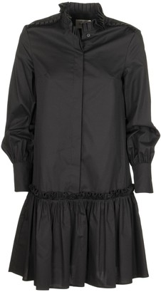 Dondup Long-sleeved Dress With Pleated Collar