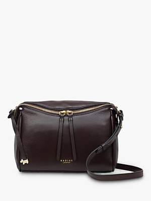 Radley Castle Street Medium Top Zip Leather Cross Body Bag, Dark Red
