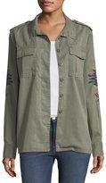 Velvet Heart Blaze Embroidered-Sleeve Twill Jacket